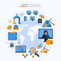 virtuell valuta rund komposition platt stil