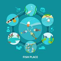 Underwater Piscary Fiske Sammansättning vektor