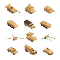 Militärfordonets isometriska ikonuppsättning