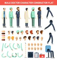 Man Doctor Character Constructor Flat vektor
