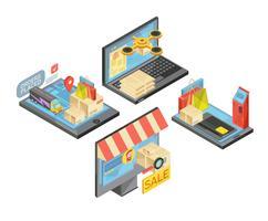 online shopping isometriska kompositioner vektor