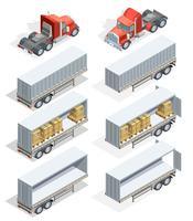 Lastbil isometrisk ikonuppsättning
