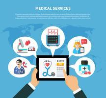 online medicinska tjänster platt design