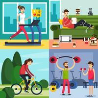 fitness träning folk ikonuppsättning