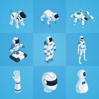 Roboter-isometrische Icons Set