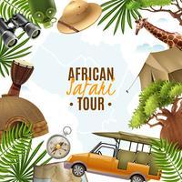 Safari Realistisk Vektor Illustration Med Tillbehör Ram