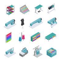 klädesfabrik isometrisk ikonuppsättning