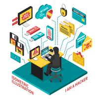 hacker isometrisk illustration