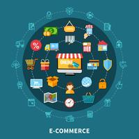 E-Commerce-Flache Zusammensetzung