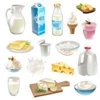 Mjölkprodukter Ikoner Set