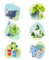 Umweltschutz 6 ökologische Icons Set vektor