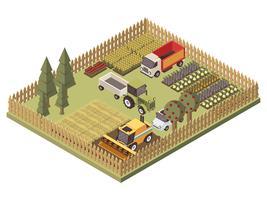 Isometrisches Design für landwirtschaftliche Fahrzeuge vektor