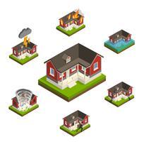 Hushållsförsäkring isometrisk uppsättning vektor