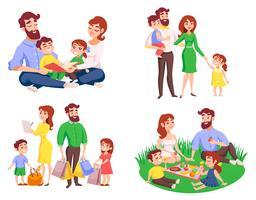 familj retro tecknad stil stil