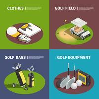 Isometrisches Design-Konzept der Golfausrüstung 2x2 vektor