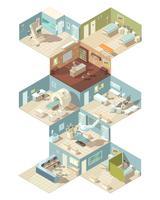 Isometrisches Konzept des Entwurfes des Krankenhauses zuhause