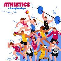 Färgrik sport isometrisk affisch