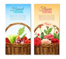 Wicker Basket 2 Vertikal Banners Set