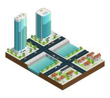 Isometrische Wolkenkratzer und Vorstadthäuser