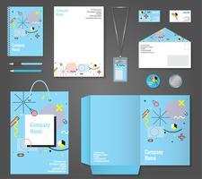 Briefpapier Unternehmensidentität Memphis Style vektor