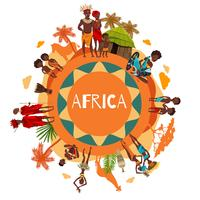 Afrikanska kultur symboler Runda kompositionaffisch vektor