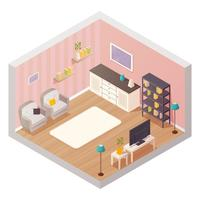 Wohnzimmer isometrischer Innenraum