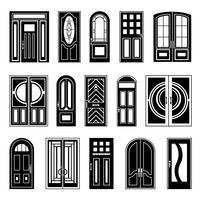 husdörrar svart designsamling vektor