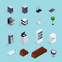 Färgad kontorsmaterial Isometrisk ikonuppsättning