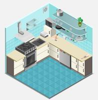 Isometrische Innenschablone der Küche