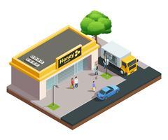 Honey Shop Isometrische Zusammensetzung vektor