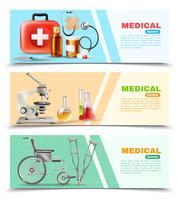 Hälso- och sjukvård Flat Medical Horizontal Banners Set