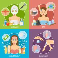 Konzept der Haut- und Körper-Cosmetology 2x2