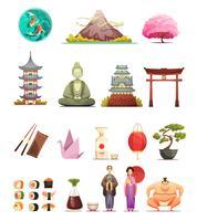 Japan-Kultur-Retro- Karikatur-Ikonen eingestellt