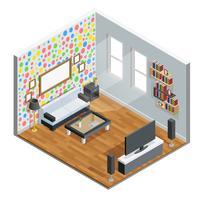 Vardagsrum Isometrisk Design vektor