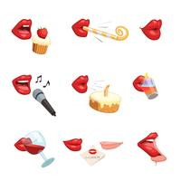 ikoner för festlips