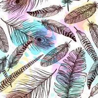 Handdragen fjädrar sömlösa mönster