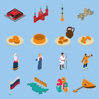 Isometrische touristische Ikonen Russlands eingestellt