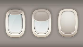 Tre realistiska portholes av flygplan