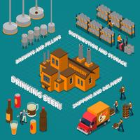 Brewery Isometric Composition vektor