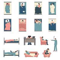 Sova folk Platta ikoner Set