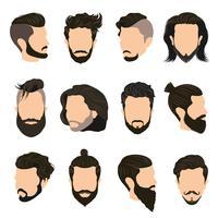 Män frisyr ikoner uppsättning vektor