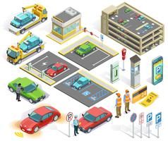 Parkplatz isometrische Elemente gesetzt