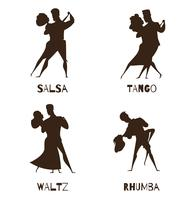 Tanzende Paare schwarze Retro Karikatur-Ikonen