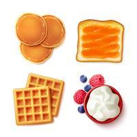 Frühstück Essen 4 Artikel anzeigen vektor