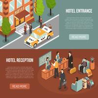 Hoteleingang Rezeption 2 isometrische Banner vektor