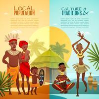 Afrikanska Tribal Life Vertikal Flat Banners vektor