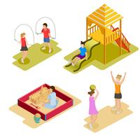 Isometrische Spielplatz-Icon-Set