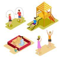 Isometrisk lekplats ikonuppsättning