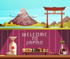 Japan Reise 2 horizontale Retro Banner