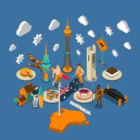 Australiska turistattraktioner Symboler Isometrisk sammansättning